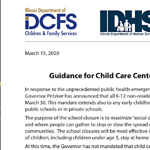 DCFS/IDHS Guidance for day care providers and parents during the novel coronavirus outbreak