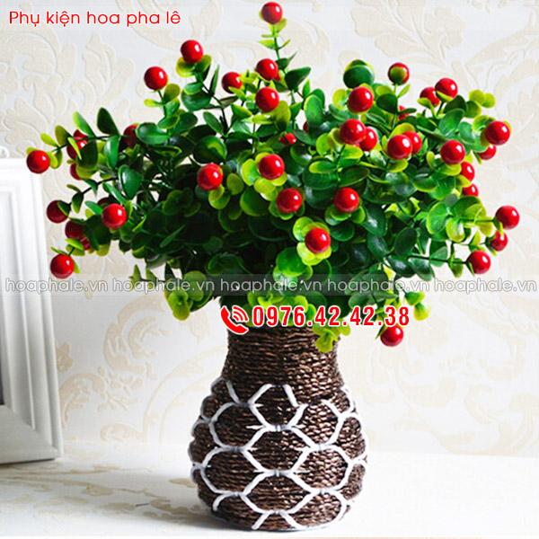 Cụm quả cherry - phụ kiện hoa pha lê