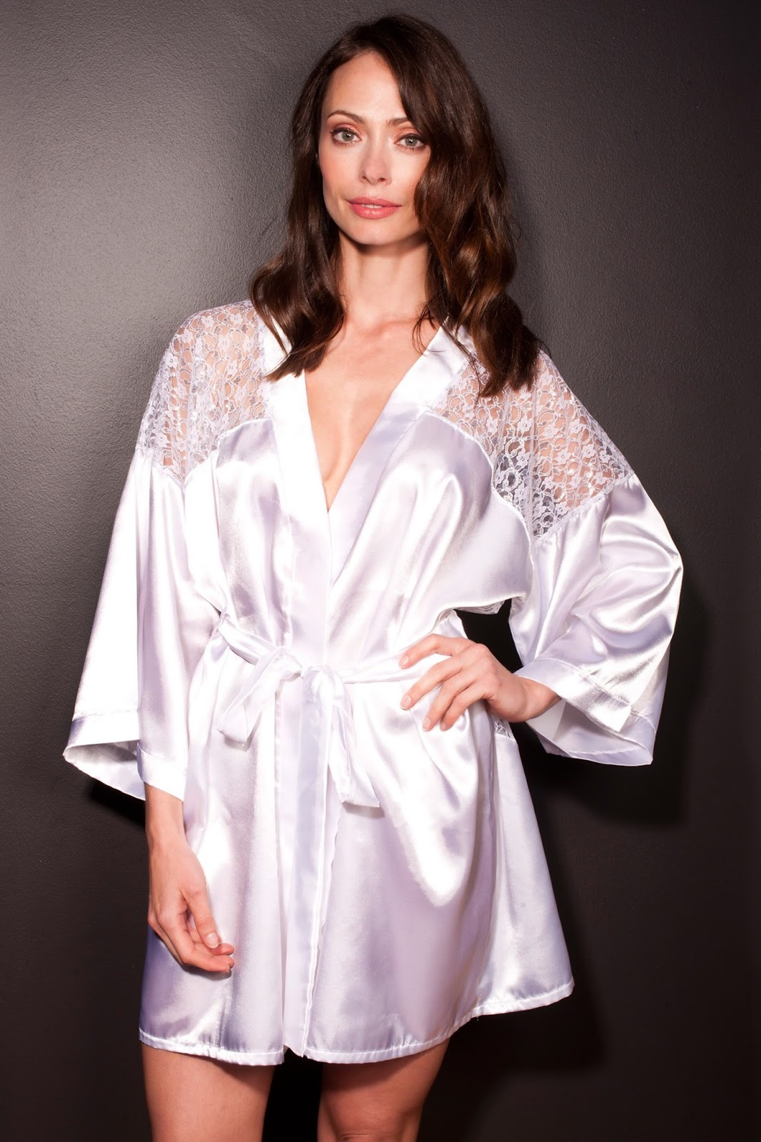 Silk Satin Dress Silk Satin Robe Blouse Dressing Gown-9564
