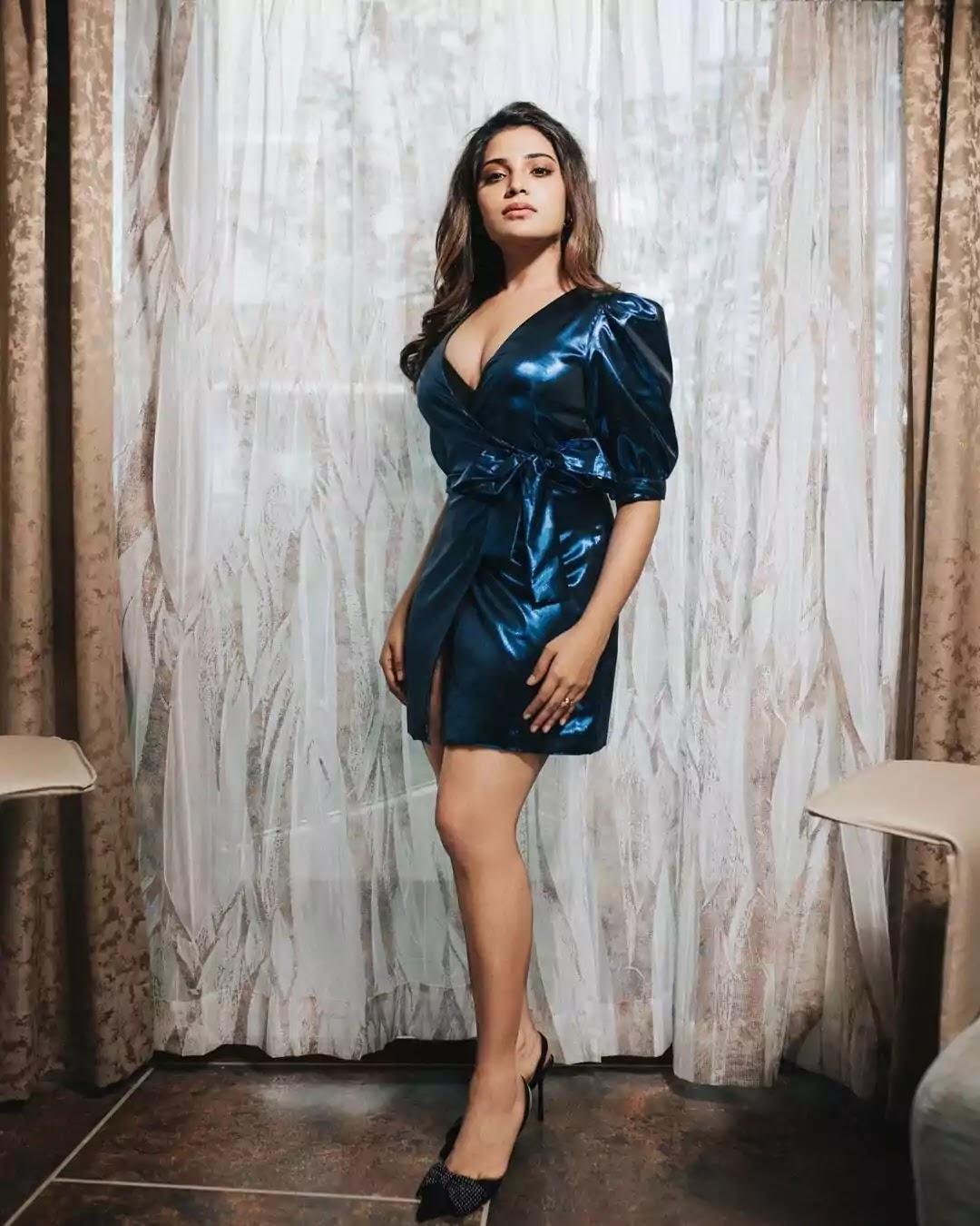aathmika-hot-looks-in-blue-mini-dress