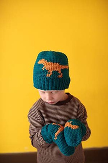 T-rex hat and mittens, crochet pattern by April Garwood of Banana Moon Studio for Interweave Crochet Accessories 2011