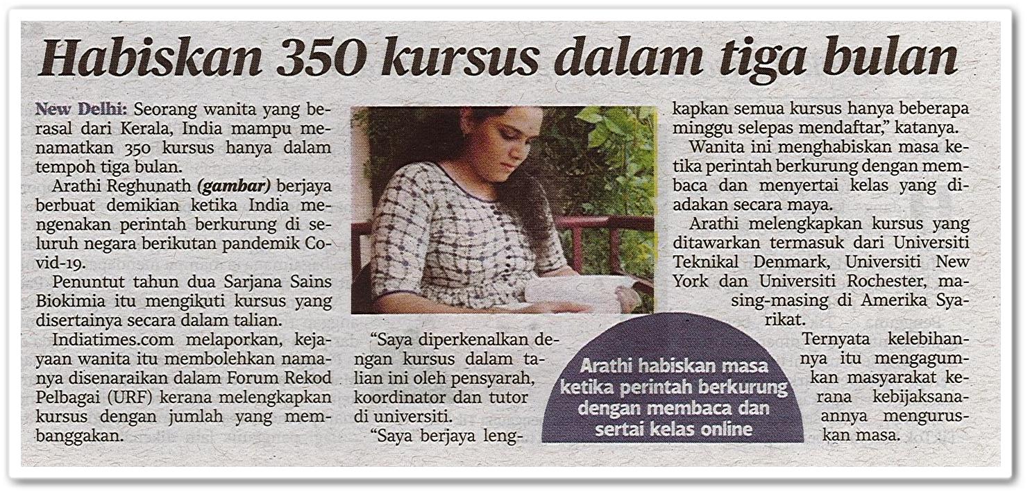 Habiskan 350 kursus dalam tiga bulan - Keratan akhbar Harian Metro 8 Oktober 2020