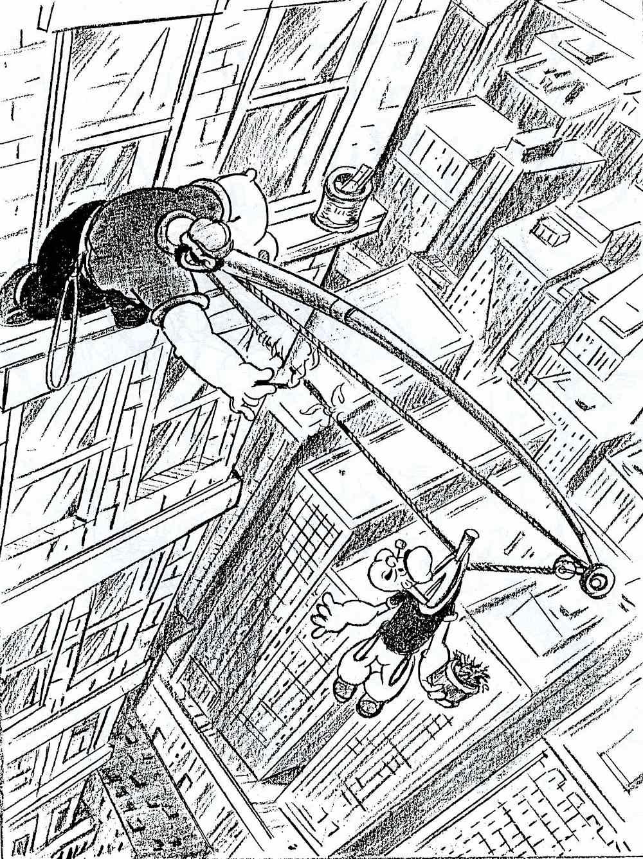 a Fleischer studio animation layout for Popeye, 1930s Bluto