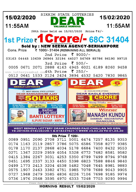 Lottery Sambad 15.02.2020 Sikkim Lottery Result 11.55 AM