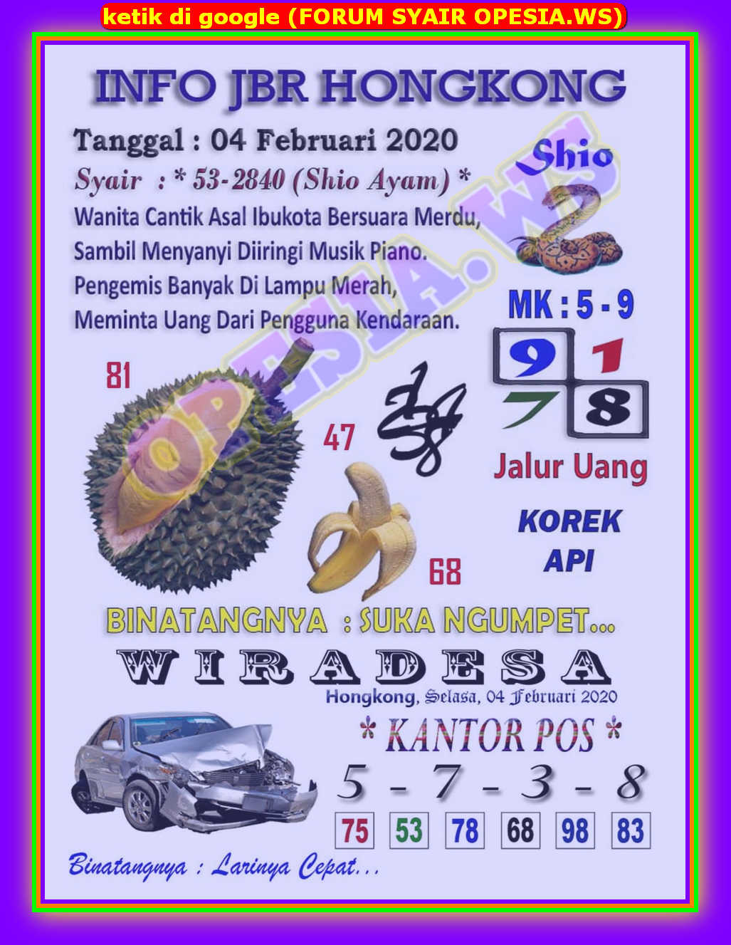 Kode syair Hongkong Selasa 4 Februari 2020 2