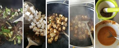 Zubereitung Mapo Doufu (Mapo-Tofu aus Sichuan)