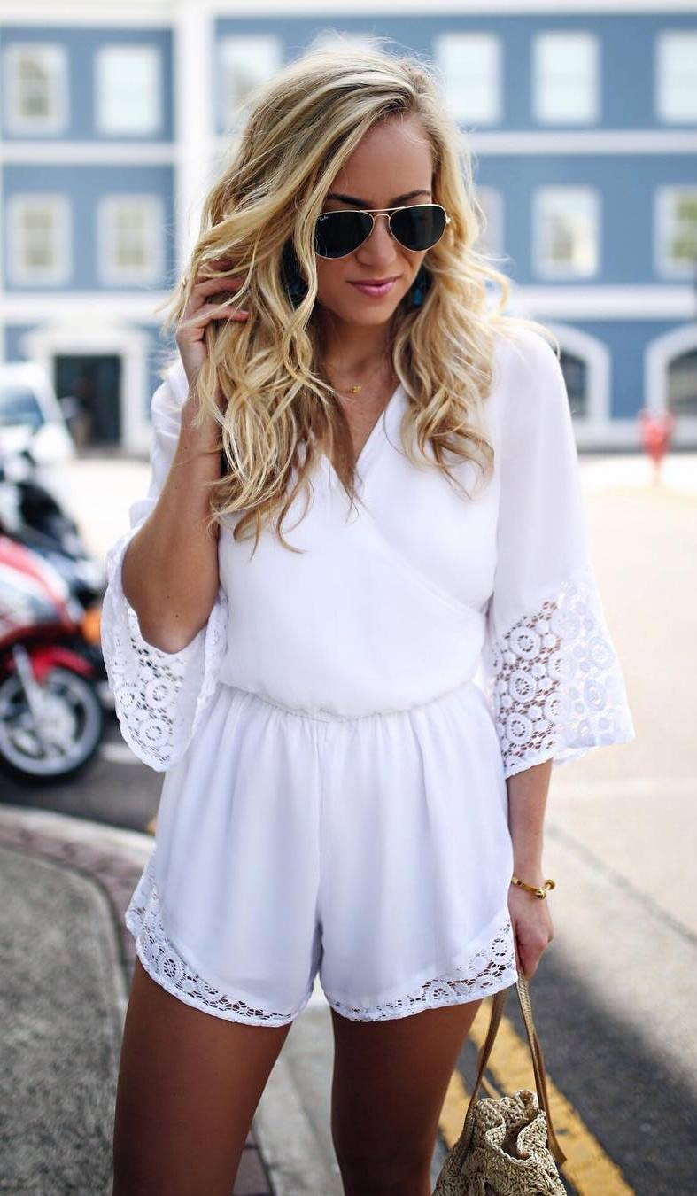 gorgeouse outfit / white romper and bag