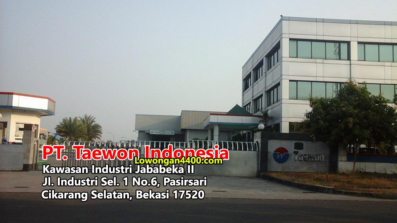 Lowongan Kerja Operator Produksi   PT Taewon Indonesia Jababeka Juni 2020
