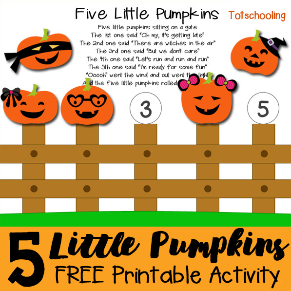Sizzling image with five little pumpkins printable