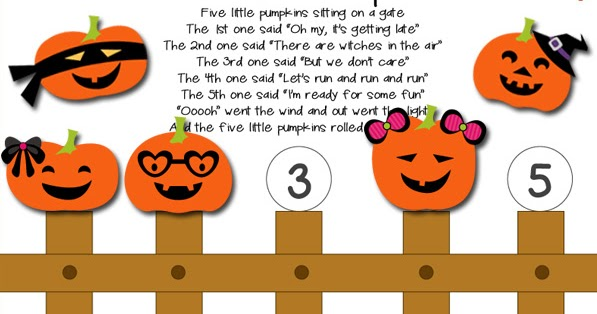Selective image in five little pumpkins printable