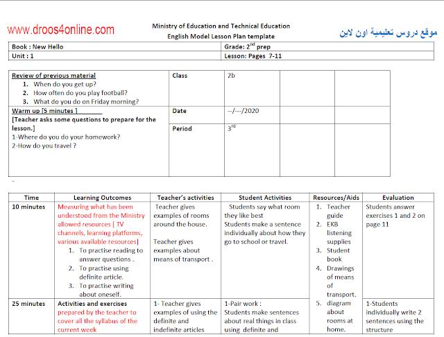 نماذج تحضير(حسب تعليمات المستشارة) لجميع المراحل التعليمية 2021 من موقع دروس تعليمية اون لاين www.droos4online.com