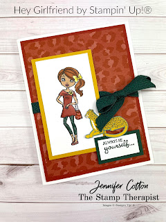 This card uses Stampin' Up!®'s Hey Girlfriend stamp set.  Available through June 30, 2021 or while supplies last.  I used Stampin' Blends to color the girl.  I also used the In the Wild designer series paper.  Link to video and measurements on blog.  #StampinUp #StampTherapist #HeyGirlfriend