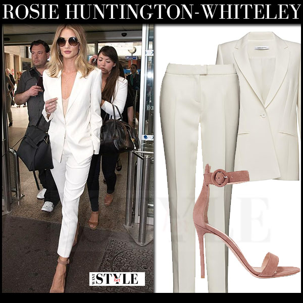 Rosie Huntington-Whiteley in white blazer, white pants magda butrym and suede ankle strap sandals what she wore model style