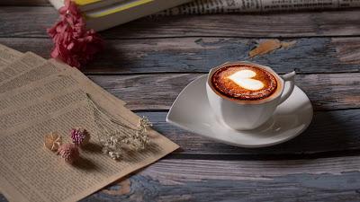 Free wallpaper heart, cup, cappuccino, coffee, book