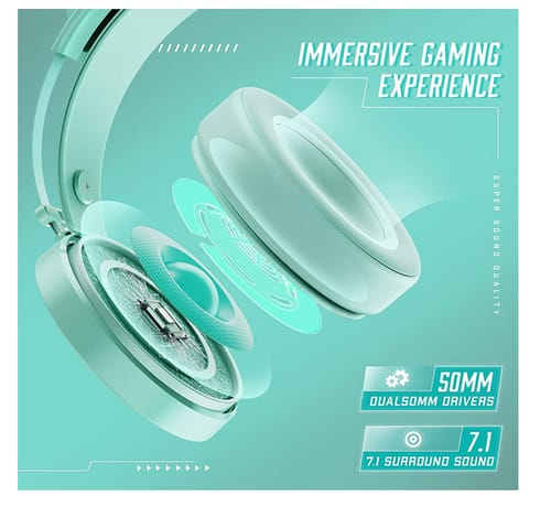 WodnHoak PS5 Green Gaming Headset with Noise Canceling