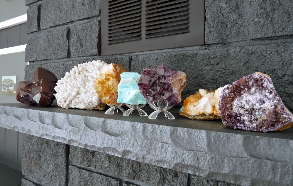 Rock collection on display