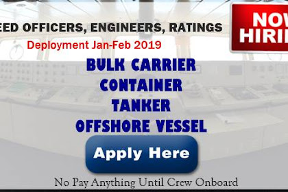 Hiring Crew Bulk Carrier, Container, Tanker, Offshore Vessel