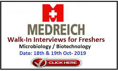 Medreich Limited - Walk-in interview for Microbiology Freshers on 18th & 19th October, 2019