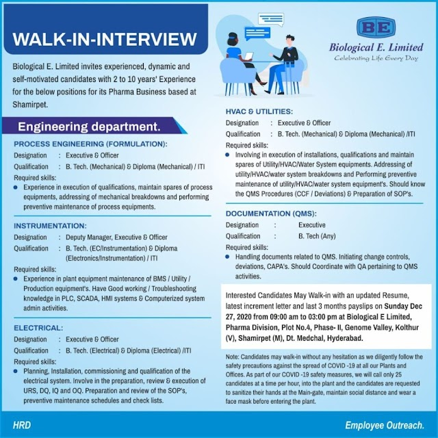 Biological E | Walk-in interview for Engineering services on 27th Dec 2020
