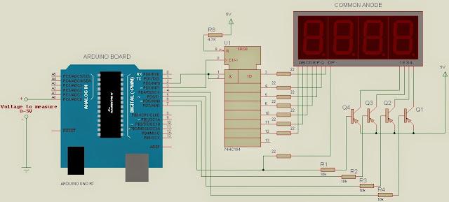 Arduino voltmeter 7 segment