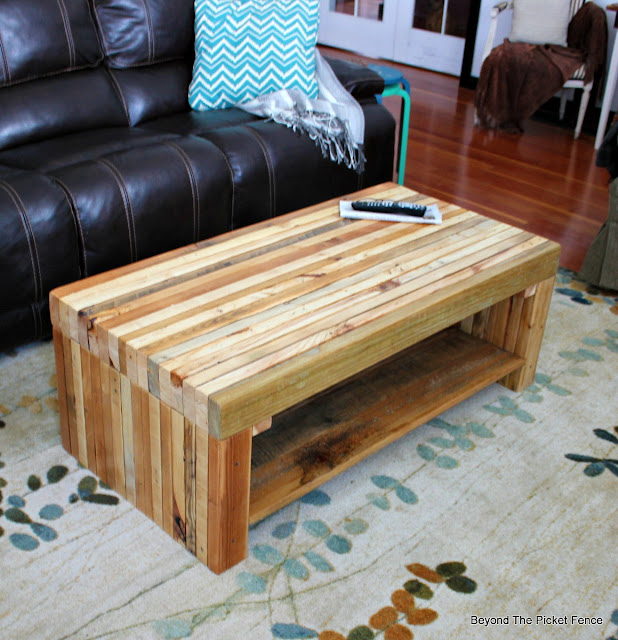 pallets, coffee table, build it, Minwax, reclaimed, rustic, decor, http://bec4-beyondthepicketfence.blogspot.com/2016/02/building-lessons-pallet-coffee-table.html