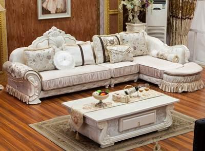 sofa sudut ukir putih