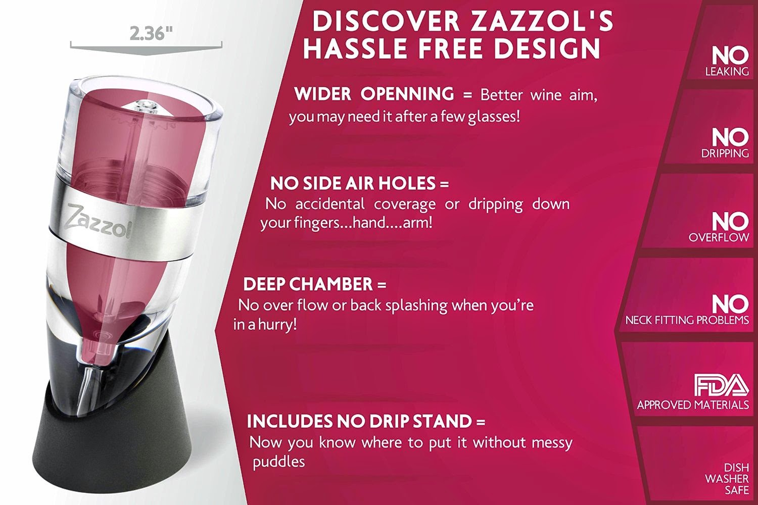 The Zazzol Wine Aerator comes with a lifetime satisfaction guarantee