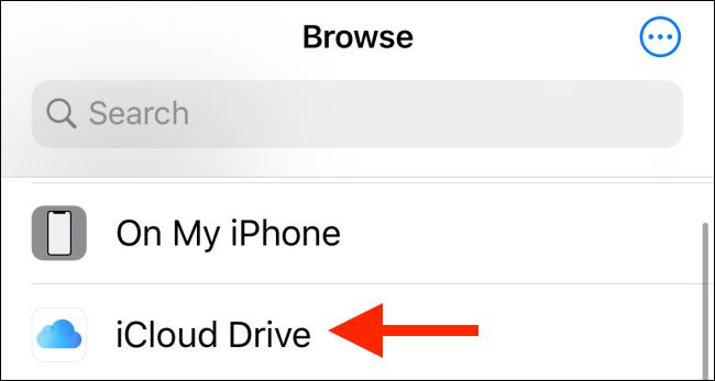 اختر iCloud Drive من المواقع