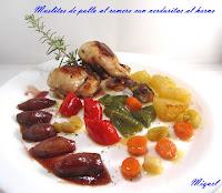 Muslitos de pollo al romero con verduritas al horno
