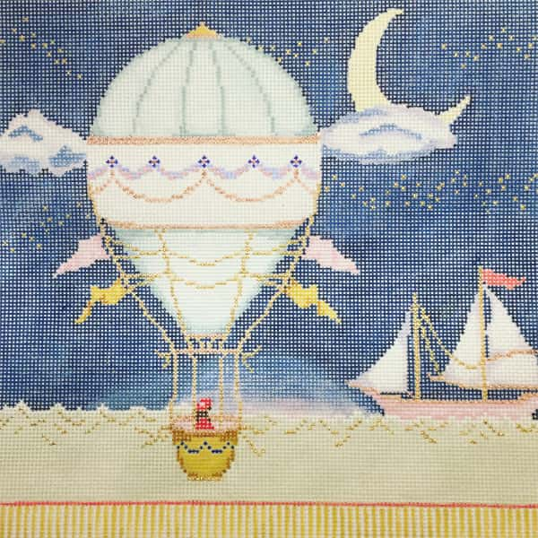 Hot Air Balloon flying in the night sky needlepoint canvas