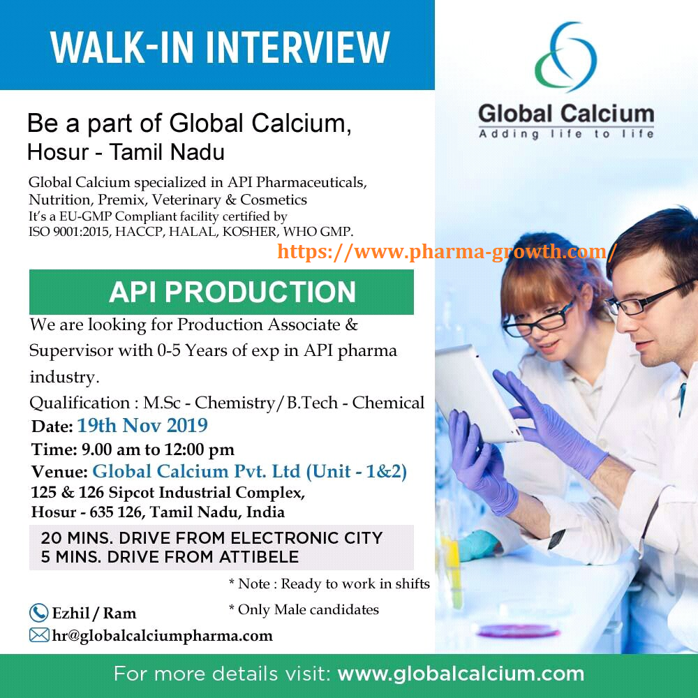 Global Calcium Pvt Ltd – Walk in interview for Production – fresher & Experienced Candidates on 19th November 2019