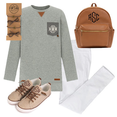 monogram sweatshirt with mini backpack and sneakers