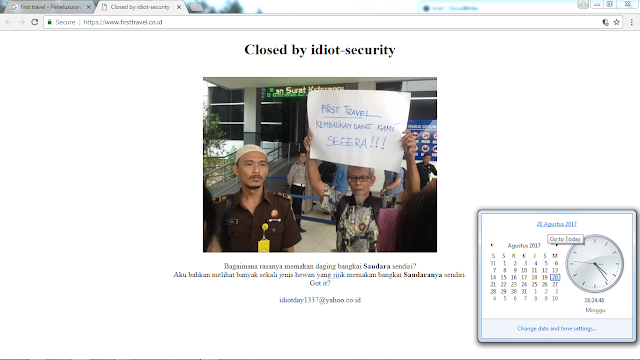 Situs First Travel Indonesia diretas hacker dengan mengubah tampilan Deface