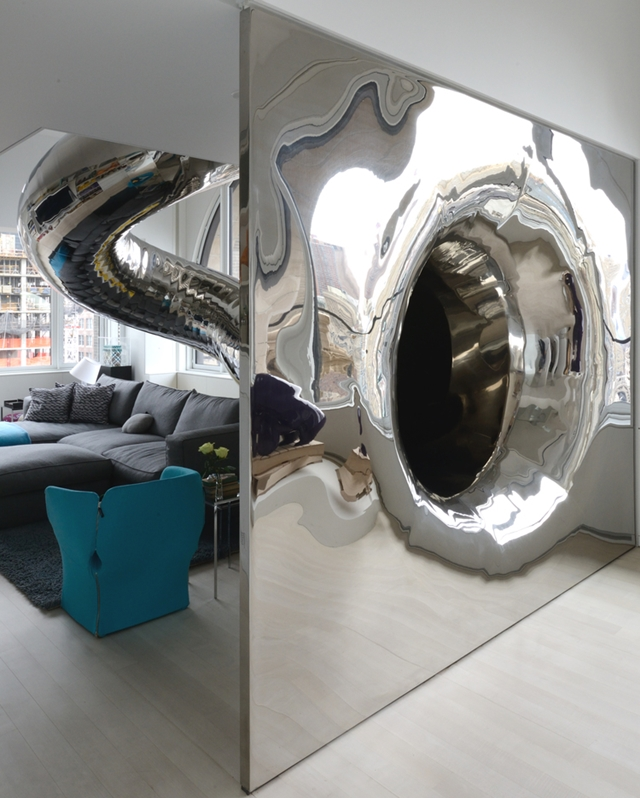 Mirrored slide in the living room