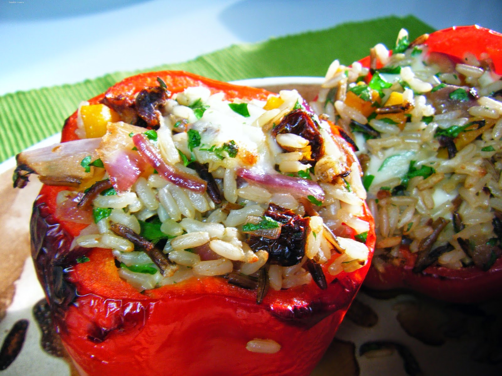 stuffed red peppers wild rice
