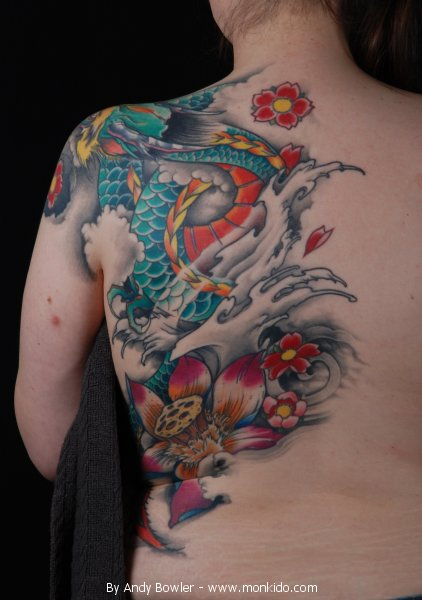 Dragon Tattoo With Flowers: Monki Do Tattoo Studio: Japanese Dragon And Flower Tattoo