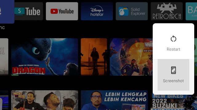 tombol screenshot android tv