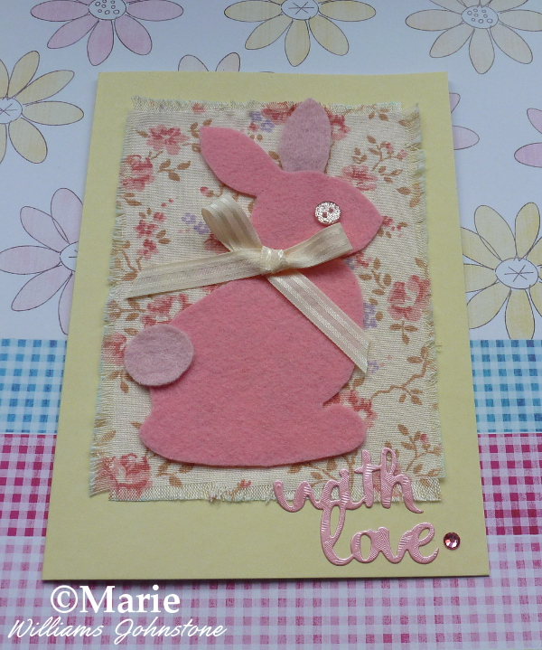 Pink fabric and felt bunny rabbit Easter Spring handmade card design last minute quick easy make no sew free pattern template