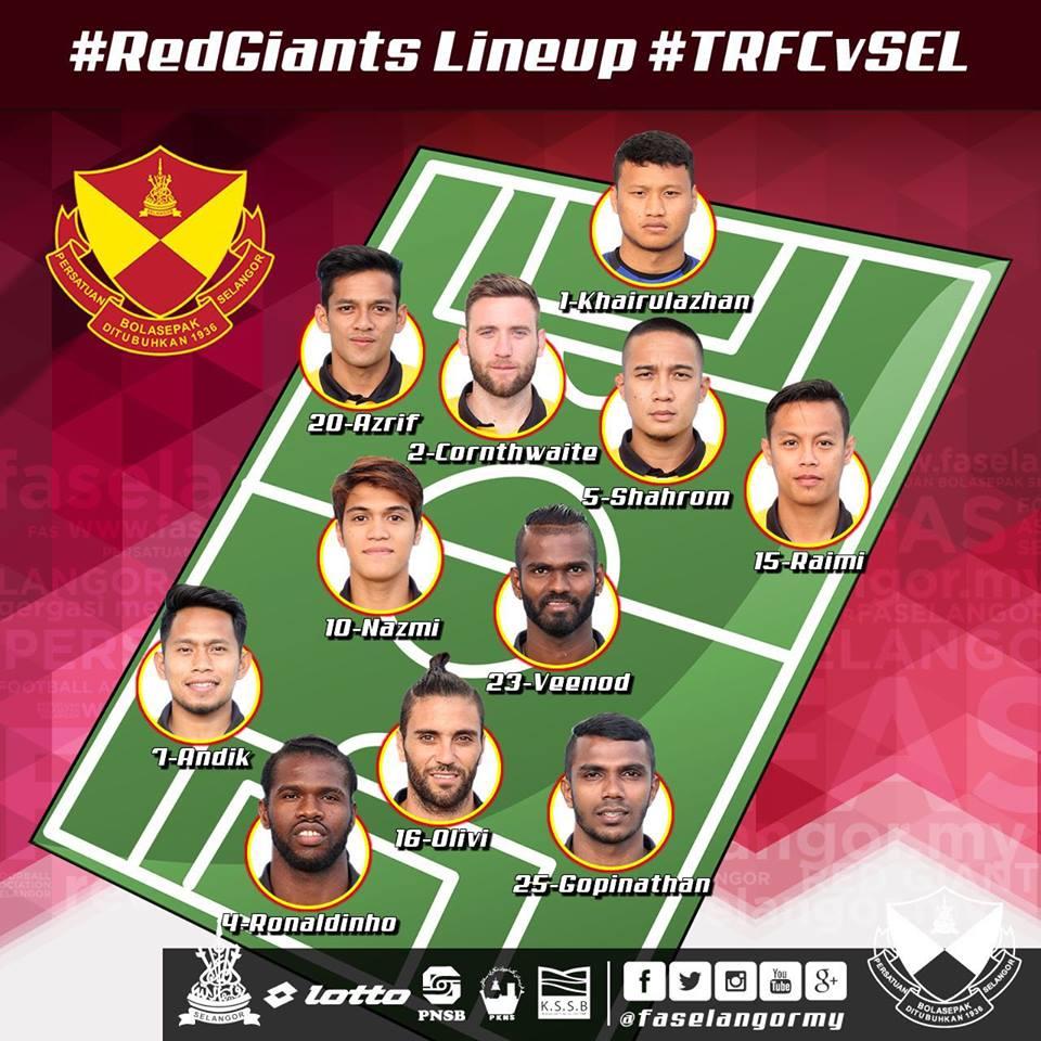 kesebelasan pemain Selangor Vs Tampines Rovers 10 Mei 2016