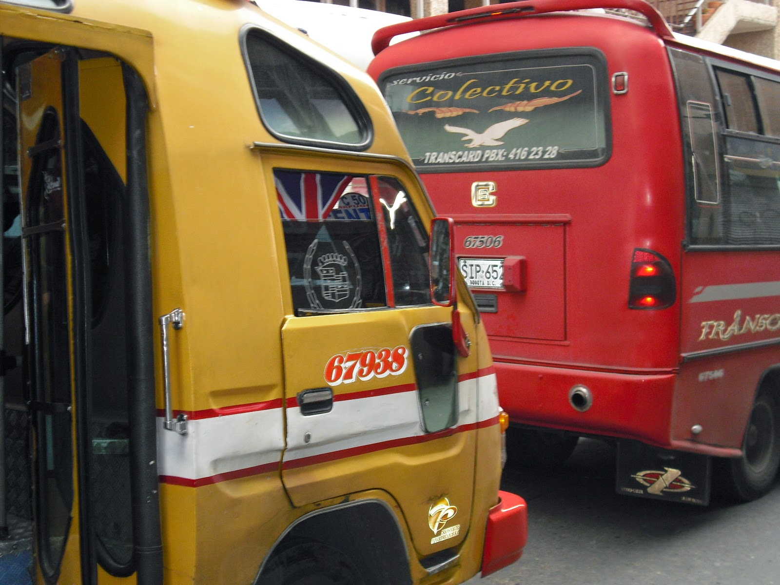 The Union Jack hung proudly from a Bogotá city bus.