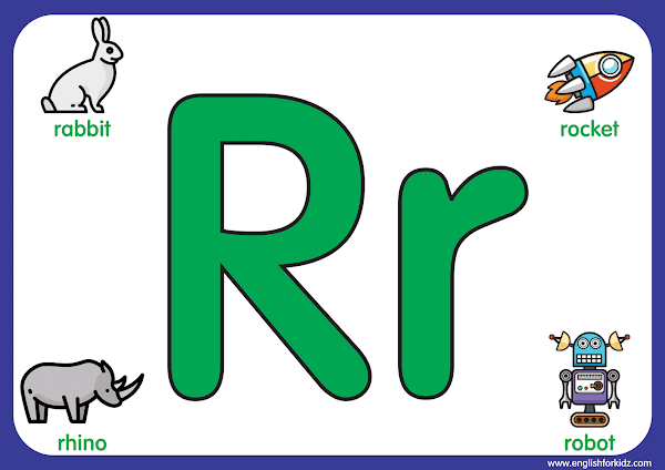 Letter r - big printable alphabet letters for kids learning English