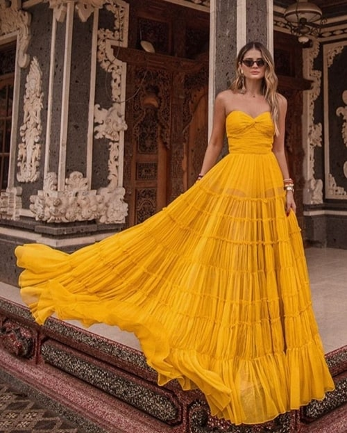 thasssia naves vestido longo amarelo