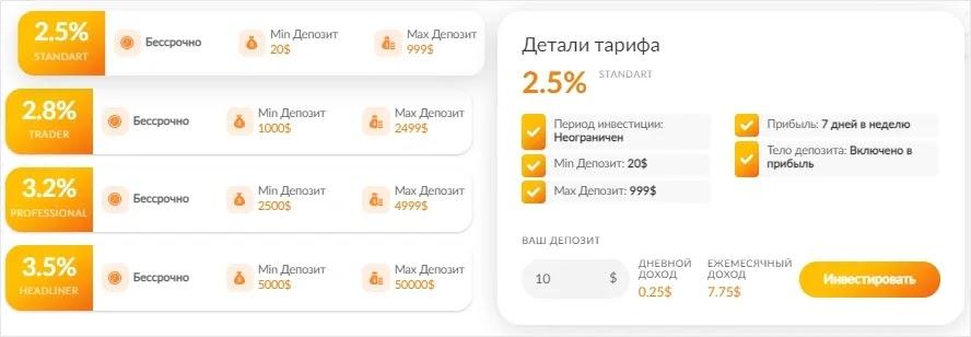 Инвестиционные планы PulsarBank