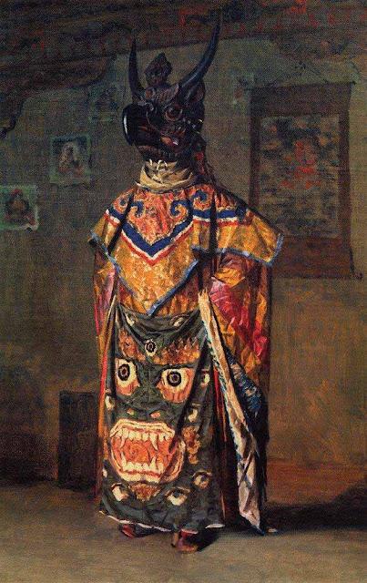 Василий Васильевич Верещагин - Буддиский лама на празднике в монастыре Пемиончи. Сикким. 1875