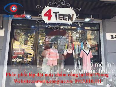 Lắp đặt máy chấm công tại cửa hàng 4Teen - 14 Phạm Minh Đức - Hải Phòng.