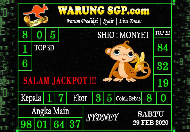 Prediksi Sidney JP 29 Februari 2020 - Prediksi Warung sGP