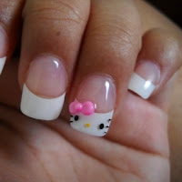 My Melody Hello Kitty pink french Cute fimo Nail Design