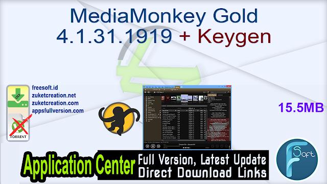MediaMonkey Gold 4.1.31.1919 + Keygen