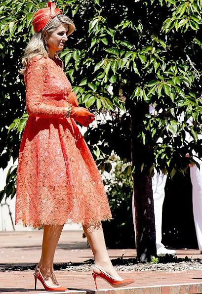 Queen Maxima wore Natan Lace dress, Natan Pumps, shoes, Natan clutch bag, style fashions