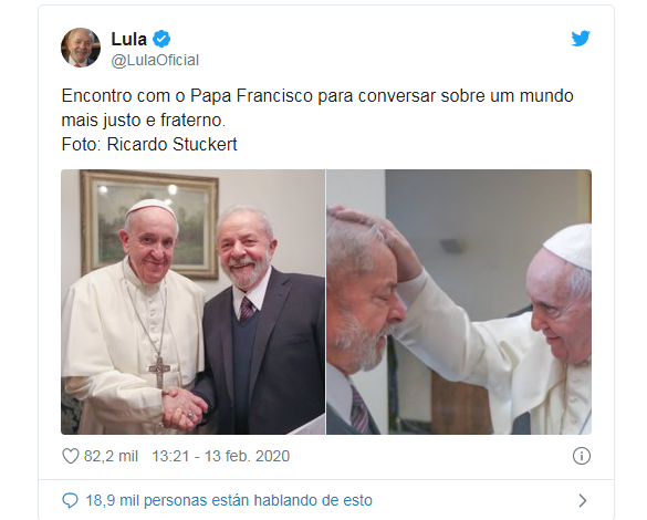 Causó polémica la reciente visita de Francisco a Lula / TWITTER